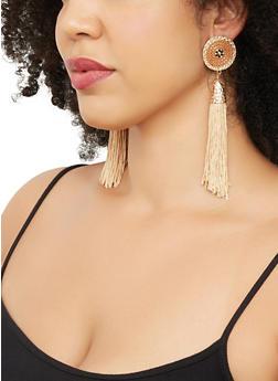Beaded Disc Tassel Drop Earrings - 3135029364101
