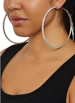 Jumbo Rhinestone Hoop Earrings - 3135029364114