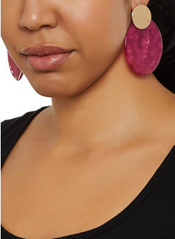 Marbled Circle Drop Earrings - 3135029364122