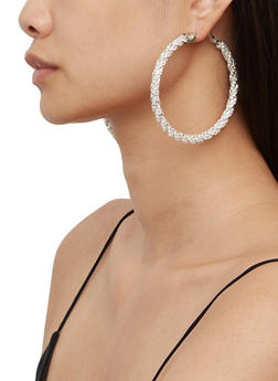 Twisted Rhinestone Hoop Earrings - 3135029367009