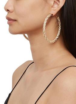 Twisted Rhinestone Hoop Earrings - 3135029367009