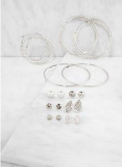 Set of 9 Metallic Hoop and Stud Earrings - 3135035150437