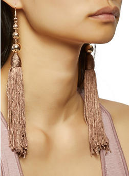 Beaded Tassel Earrings - 3135035150750