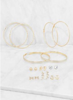 Set of 9 Metallic Hoop and Stud Earrings - 3135035151123