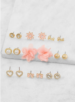 Set of 9 Assorted Stud Earrings - 3135035152415