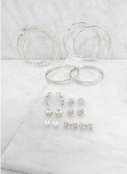 Set of 9 Assorted Hoop and Stud Earrings - 3135035152806