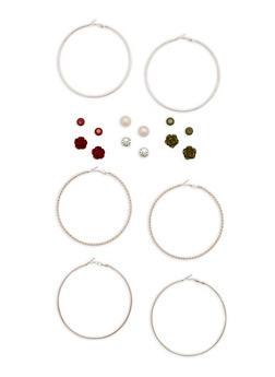 Braided Hoop and Flower Stud Earrings Set - 3135035153122