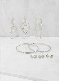Set of 6 Assorted Metallic Earrings - 3135035153345