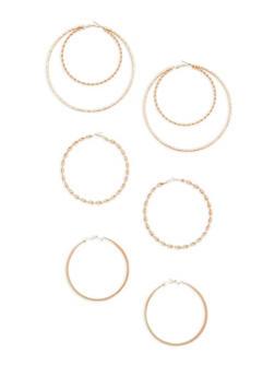 Multi Size Textured Hoop Earrings Set - 3135035153464