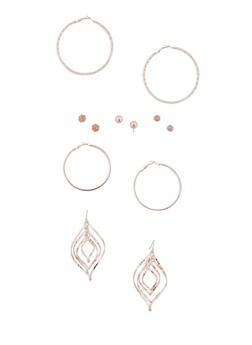 6 Assorted Hoop and Stud Earrings Set - 3135035153713