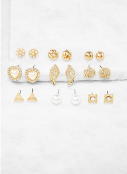 Set of 9 Assorted Stud Earrings - 3135035154395