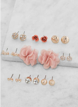 Set of 9 Rhinestone Stud Earrings - 3135035155314