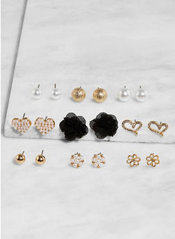 Set of 9 Assorted Stud Earrings - 3135035155316