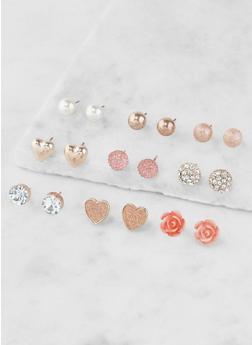 Assorted Metallic Stud Earrings Set - 3135035155358