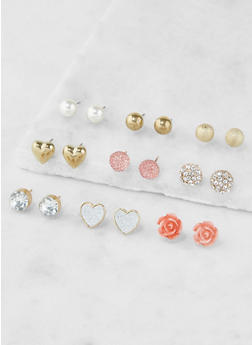 Assorted Metallic Stud Earrings Set - 3135035155358