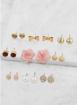 Set of 9 Assorted Stud Earrings - 3135035155831
