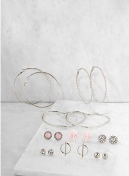 Set of 9 Metallic Hoop and Stud Earrings - 3135035155851