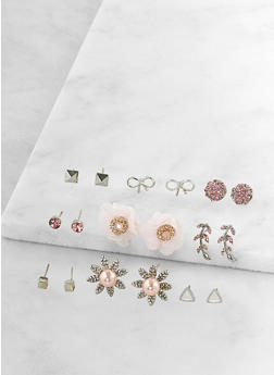 Set of 9 Assorted Stud Earrings - 3135035155855