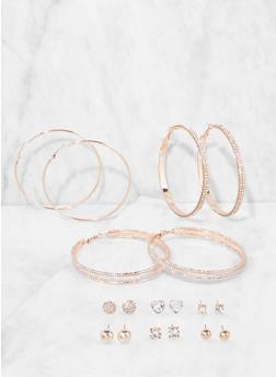 Rhinestone Stud and Hoop Earrings Set - 3135035155994