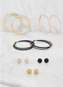 Set of 6 Metallic Hoop and Stud Earrings - 3135035156913