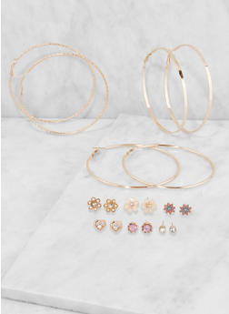 Metallic Hoop and Stud Earrings Set - 3135035156916
