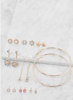 Set of 9 Hoop and Stud Earrings - 3135035156917