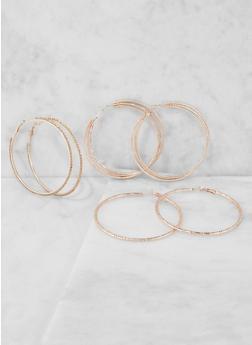 Rhinestone Metallic Hoop Earrings Trio - 3135035156961