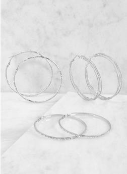Metallic Hoop Earring Trio - 3135035156981