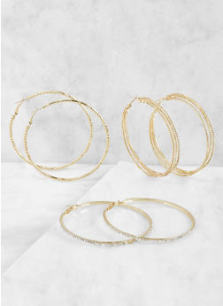 Metallic Hoop Earring Trio - 3135035156981