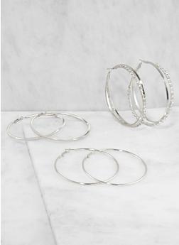 Rhinestone Hoop Earring Trio - 3135035156996