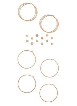 Assorted 9 Piece Hoop and Stud Earrings Set - 3135035157095