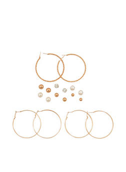 Set of 9 Assorted Hoop and Stud Earring Set - 3135035157223