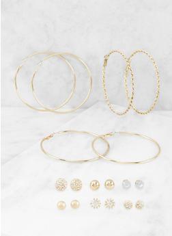 Set of 9 Assorted Stud and Hoop Earrings - 3135035157297