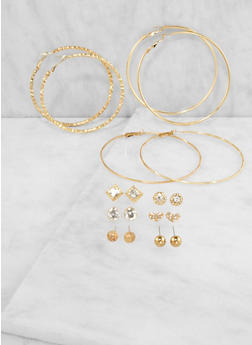 Assorted Set of Stud and Hoop Earrings - 3135035157426