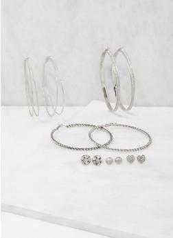 Set of Assorted Stud and Large Hoop Earrings - 3135035157695