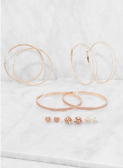 Set of Assorted Stud and Large Hoop Earrings - 3135035157695