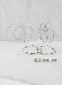 Set of 6 Hoop and Stud Earrings - 3135035157699