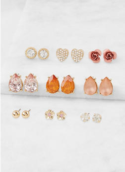 Assorted Rhinestone Stud Earrings Set - 3135035157713