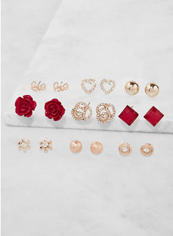 Assorted Flower Stud Earrings Set - 3135035158319