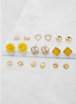 Assorted Flower Stud Earrings Set - 3135035158319