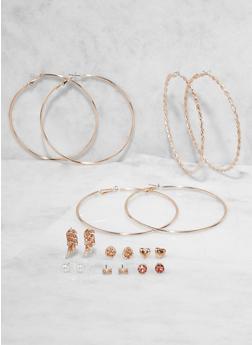 Rhinestone Studs and Hoop Earrings Set - 3135035158535