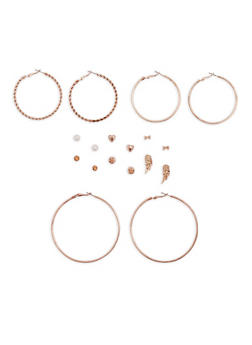 Assorted Stud and Hoop Earrings Set - 3135035158853