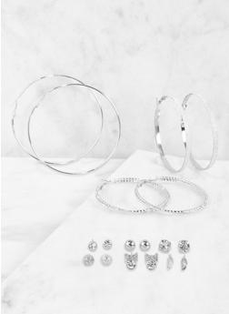 Set of Assorted Rhinestone Stud and Hoop Earrings - 3135035159714