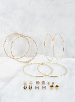 Hoop and Stud Earrings Set - 3135035159726