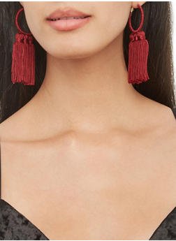 Thread Wrapped Tassel Hoop Earrings - 3135044093691