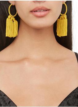 Thread Wrapped Tassel Hoop Earrings - 3135044093691