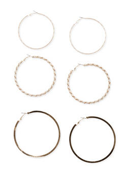 Set of 3 Large Hoop Earrings - 3135057691224