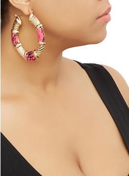 Snake Print Detail Hoop Earrings - 3135057692672