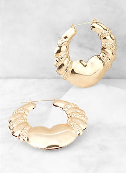 Metallic Puff Bamboo Hoop Earrings - 3135057693019