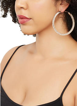 Rhinestone Hoop Earrings | 3135057693239 - 3135057693239